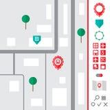 Городская карта при установленные значки указателя Стоковое фото RF