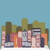 Городская предпосылка с голубым небом Стоковая Фотография