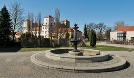 Городская площадь в городке Bucovice в чехии Стоковое фото RF