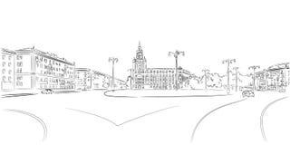 Городская площадь и историческое здание иллюстрация штока