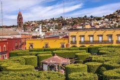 Городская площадь San Miguel de Альенде Мексика деревьев Jardin Стоковые Фото