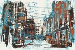 Городская улица с текстурой grunge иллюстрация вектора