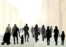 Городская улица с людьми Стоковое Изображение