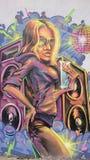 Городские граффити - портрет девушки диско Стоковая Фотография
