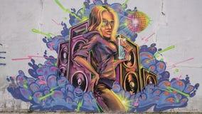 Городские граффити - портрет девушки диско Стоковая Фотография RF