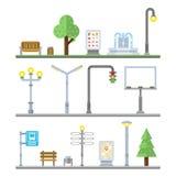 Городские значки ландшафта Фонарики светофоров, стенд и элементы улицы фонтана бесплатная иллюстрация