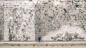 Городское катание велосипедиста на майне цикла наряду реки Tevere, Рима Италии Стоковые Изображения