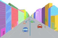 Городской ландшафт в плоском стиле дизайна, иллюстрации вектора Стоковая Фотография RF