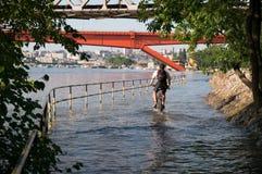 Городской ландшафт после потока Стоковое Изображение