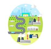 Городской ландшафт - с городом, фабриками, складами, Transpor Принципиальная схема снабжения Стоковое фото RF