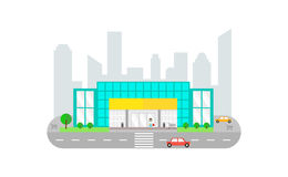 Городской ландшафт с зданием супермаркета - vector плоская иллюстрация Стоковое Изображение