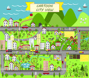 Городской ландшафт с домами, морем, дорогами, деревьями, садами, автомобилями, и пригородами Стоковое фото RF