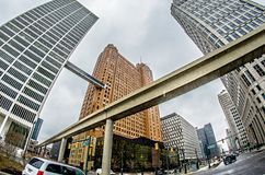 Городской горизонт города detroit Мичигана Стоковые Изображения RF