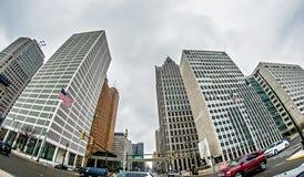 Городской горизонт города detroit Мичигана Стоковые Фото