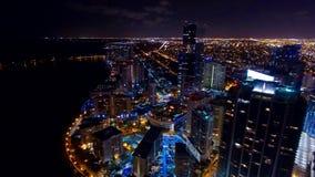 Городской горизонт ночи Майами воздушный Стоковое Изображение RF