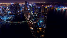 Городской горизонт ночи Майами воздушный Стоковые Фото