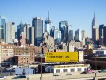 Городской горизонт центра города Манхаттана Стоковое фото RF
