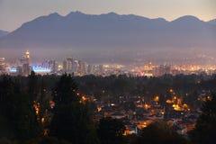 Городской городской пейзаж рассвета Ванкувера Twilight Стоковая Фотография RF