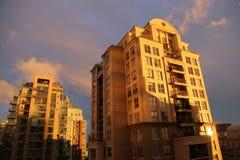 Городской заход солнца Ванкувера городского пейзажа Стоковые Фото