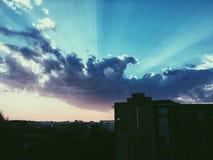 городской заход солнца Стоковые Изображения