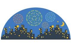 Городской дисплей фейерверков ночи Стоковые Изображения