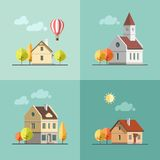 Городской комплект ландшафта зданий Иллюстрация штока