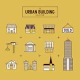 Городской комплект значка вектора здания иллюстрация штока