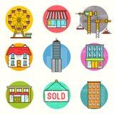 Городской комплект значка вектора здания бесплатная иллюстрация