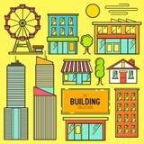 Городской комплект значка вектора здания иллюстрация вектора