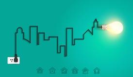 Городской пейзаж вектора с творческой электрической лампочкой ide провода Стоковое Изображение