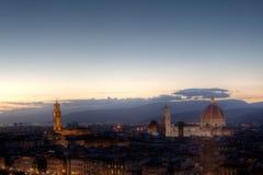 Городской пейзаж вечер Флоренса, Firenze, Тосканы, Италии Стоковое фото RF