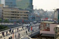 Городской пейзаж взгляда высокого угла и движение города Сайгона Стоковое Фото