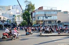 Городской пейзаж взгляда и движение города Сайгона Стоковая Фотография RF
