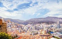 Городской пейзаж вида с воздуха княжества Монако Монте-Карло Лазурные coas Стоковые Фотографии RF
