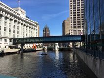 Городской пейзаж в городском Milwaukee, Висконсине, США Стоковые Изображения