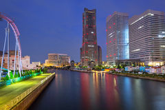 Городской пейзаж города Иокогама на ноче Стоковое фото RF