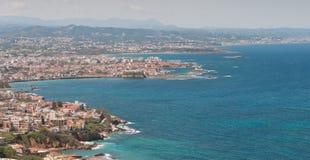 Городской пейзаж городка Chania в греческом острове Крита в Греции стоковые фото