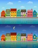Городской пейзаж лета: все время Стоковые Изображения RF