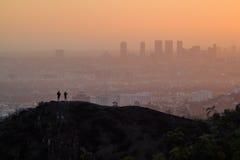 Городской пейзаж захода солнца Лос-Анджелеса Westwood от Griffith Park стоковые фото