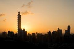 Городской пейзаж захода солнца Стоковые Изображения RF