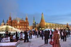 Городской пейзаж зимы Москвы Стоковая Фотография