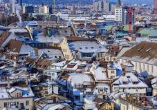 Городской пейзаж зимы Цюриха Стоковая Фотография RF