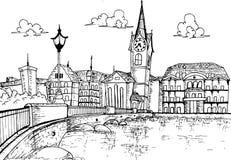 Городской пейзаж иллюстрации нарисованная рука Цюриха, Швейцарии Стоковое фото RF
