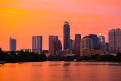 Городской пейзаж капитолия Техаса города Остина восхода солнца озера городк утра Стоковая Фотография