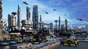 городской пейзаж концепции фантазии Scifi перевода 3d город запруды Стоковая Фотография
