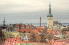 Городской пейзаж крыши старого городка Таллина красный стоковые фотографии rf