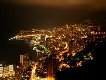 Городской пейзаж Монако к ноча Стоковые Изображения