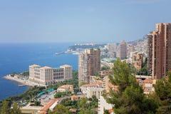 Городской пейзаж Монако Монте-Карло, вид с воздуха княжества Стоковые Изображения