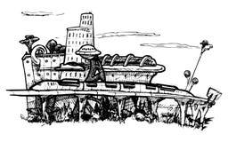 Городской пейзаж Научная фантастика Стоковое Изображение