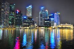 Городской пейзаж на заливе Марины, Сингапуре Стоковое Изображение